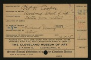 Entry card for Cooper, Thomas Heaton, and Cleveland School of Art for the 1920 May Show.