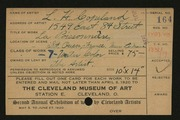 Entry card for Copeland, L. Harl for the 1920 May Show.