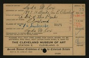 Entry card for Cox, Lyda Morgan for the 1920 May Show.