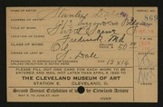Entry card for Dale, Stanley for the 1920 May Show.