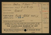 Entry card for D'Amico, Adeline for the 1920 May Show.