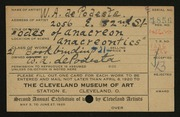 Entry card for De Podesta, W. A. for the 1920 May Show.
