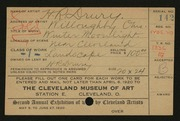 Entry card for Drury, Herbert R. for the 1920 May Show.