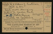 Entry card for Eastman, Mable M., and Eastman, William Joseph for the 1920 May Show.