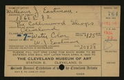 Entry card for Eastman, William Joseph for the 1920 May Show.