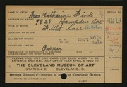 Entry card for Fink, Katharine for the 1920 May Show.