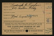 Entry card for Fischer, Frederick H., and Caxton Company for the 1920 May Show.