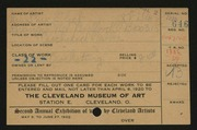 Entry card for Flick, Mrs. Theo for the 1920 May Show.