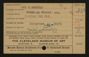 Entry card for Gandola, Paul M. for the 1920 May Show.