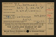 Entry card for Gottwald, Frederick Carl for the 1920 May Show.