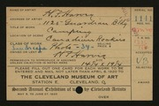 Entry card for Harvey, H. F. for the 1920 May Show.