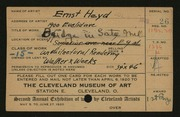 Entry card for Heyd, Ernst, and Walker and Weeks (Firm) for the 1920 May Show.