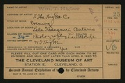 Entry card for Higbee, William T. for the 1920 May Show.