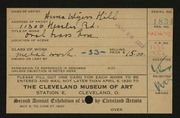 Entry card for Hill, Anna Wyers for the 1920 May Show.