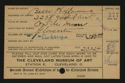 Entry card for Hoffman, Belle Mildred for the 1920 May Show.