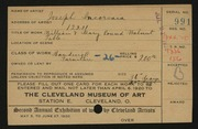 Entry card for Incorvaia, Joseph for the 1920 May Show.