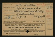 Entry card for Keller, Henry G. for the 1920 May Show.