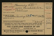 Entry card for Kennedy, Andrew D. for the 1920 May Show.