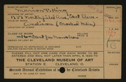 Entry card for King, Marion P. for the 1920 May Show.