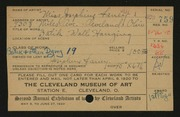 Entry card for Beduhn, Josephine Laney for the 1920 May Show.
