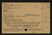 Entry card for Lawrence, Daisy for the 1920 May Show.