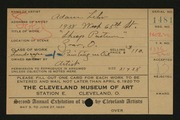 Entry card for Lehr, Adam for the 1920 May Show.
