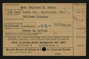 Entry card for Lewis, Mrs. Rayland H. for the 1920 May Show.