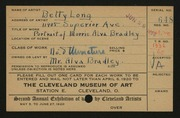 Entry card for Long, Elizabeth French for the 1920 May Show.