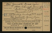 Entry card for Lyon, Jeanette Agnew for the 1920 May Show.