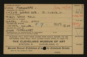Entry card for Markwart, John for the 1920 May Show.