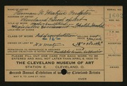 Entry card for Matzen, Herman N., and Sinz, Walter A.; Cleveland School of Art for the 1920 May Show.