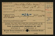 Entry card for Miller, Olga L. for the 1920 May Show.