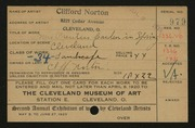 Entry card for Norton, Clifford for the 1920 May Show.