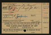 Entry card for Pryor, Warrant, and Amsden Studio for the 1920 May Show.