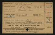 Entry card for Reindel, William George for the 1920 May Show.