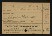 Entry card for Risser, Minnie J. for the 1920 May Show.