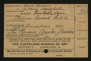 Entry card for Rorimer, Louis, and Rorimer-Brooks Studios; Amendale, Antoniac for the 1920 May Show.