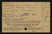Entry card for Sanford, Mrs. Henry L. for the 1920 May Show.