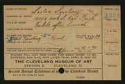 Entry card for Sarley, Leslie for the 1920 May Show.