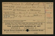 Entry card for Satterfield, Robert W. for the 1920 May Show.
