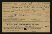 Entry card for Sayre, Viola for the 1920 May Show.