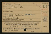Entry card for Schrott, Barbara for the 1920 May Show.