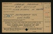 Entry card for Semon, Carle Edwin for the 1920 May Show.