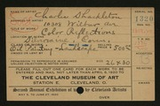 Entry card for Shackleton, Charles for the 1920 May Show.