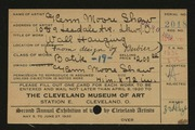 Entry card for Shaw, Glenn M. for the 1920 May Show.
