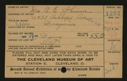 Entry card for Skinner, Mrs. O. E. for the 1920 May Show.