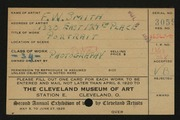 Entry card for Smith, Frank W. for the 1920 May Show.