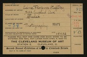 Entry card for Steffens, Edna Florence for the 1920 May Show.