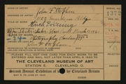 Entry card for Stephan, John F. for the 1920 May Show.