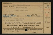 Entry card for Symonds, Winifred for the 1920 May Show.